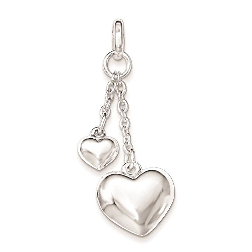 925 Sterling Silver Polished Puffed Heart Charm Pendant