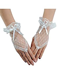 Bestgift womens Fashion Lace Fingerless Bridal Gloves for Wedding Party 18cm White