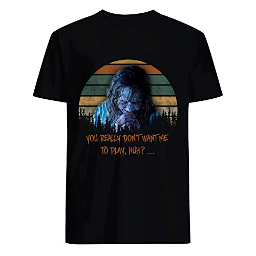 USA 80s TEE You Really Don't Want Me to Play Huh Horror Shirt Black -