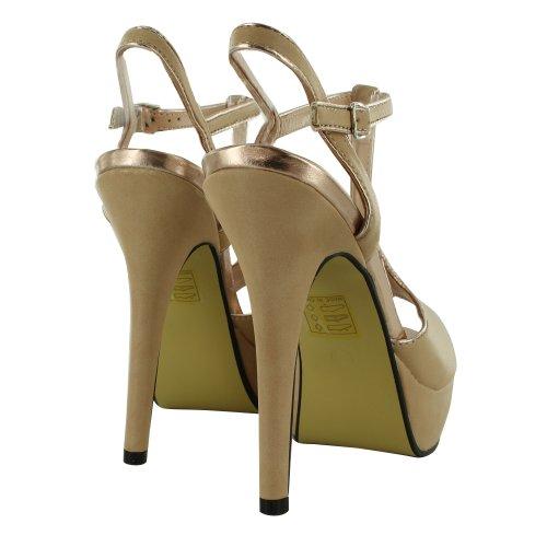 Footwear Sensation - Sandalias de vestir para mujer Beige - Nude Gold