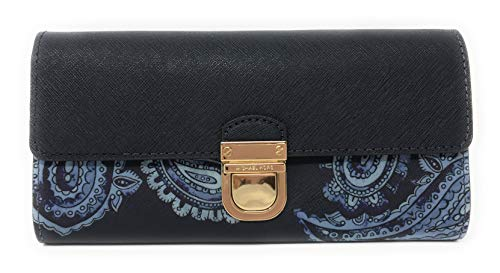 (Michael Kors Bridgette Saffiano Leather Flap Push Lock Wallet in Admiral)