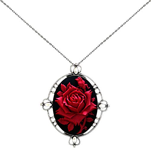 (Everywhere My Heart Pendant Necklace Cameo Stand Out You (Red Rose))