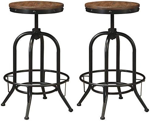 Ashley Furniture Signature Design – Pinnadel Bar Stool – Pub Height – Set of 2 – Rustic Brown