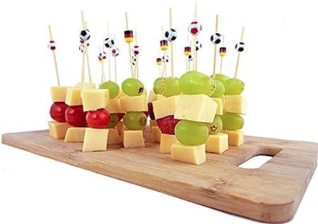 Brubaker 50 St/ück Party-Picker Partyspie/ße Partypicks 12 cm aus Holz mit Fu/ßball Rot//Wei/ß