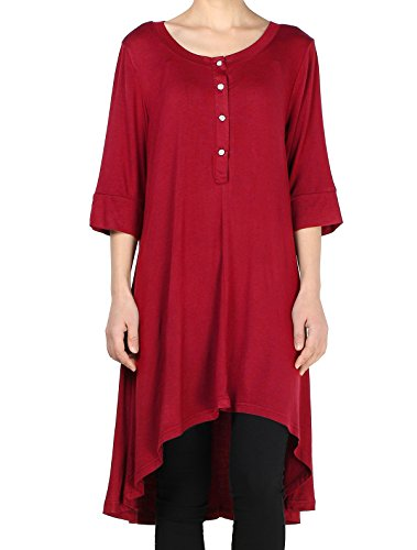 mordenmiss-womens-new-half-sleeve-high-low-loose-tunic-tops-4xl-us-24w-wine-red