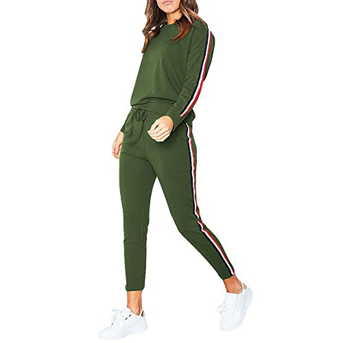 Willow S Womens 2019 Fashion Casual Comfy Solid Set Ladies Striped Active Sport Loungewear Blouse ()