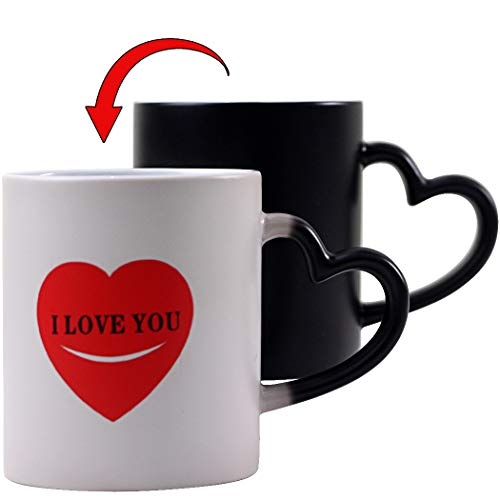 Yuwu Mom Mug Funny Color Changing Mugs Heat Changing Heart Valentines Cup Novelty I Love You Morning Magic Coffee Cup Christmas Gifts For Men Women Mom Dad Mug