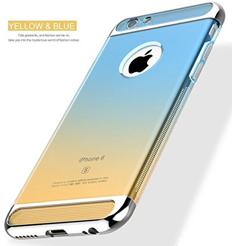 Price comparison product image Auroralove iPhone 6 Plus / 6s Plus 5.5 Inch 3 in 1 TPU Gradient Soft Slim Transparent Shockproof Aromor Rubberized Silicone Case for iPhone 6 Plus / 6s Plus-Blue and Yellow