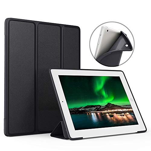 IPad case ZOYU for old 9.7inch ipad 2/3/4 Slim Lightweight Tri-Fold Silicone Stand Cover with Auto Sleep/Wake Function ,for old iPad 2th/3th/4th Generation case (ipad 4 case, Black)