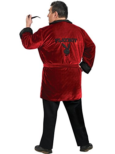 Secret Wishes Men's Playboy Smoking Jacket with Belt and Pipe Costume, Red, Plus Size -