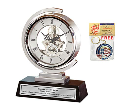 AllGiftFrames Gear Da Vinci Metal Silver Desk Clock Which Rotates 360 Degrees with Silver Engraving Plate. Unique Engineering, Anniversary, Retirement and Appreciation Award