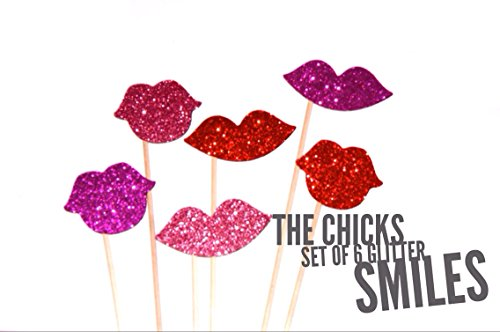(Glitter Smiles on a Stick ~ Set of 6 ~ Glitter Lips Photo Booth Props ~ Ruby Red, Hot Pink, and Light Pink)