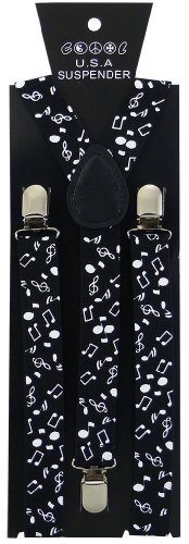 JTC Belt Great Quality Unisex Suspenders Printed White Music Notes