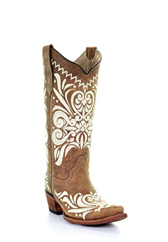 Cowgirl Embroidery Snip Tan Women's Leather Toe G Boots Angelina Circle xHB0w4qt