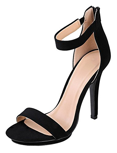 Cambridge Select Women's Open Toe Single Band Stretch Elastic Ankle Strappy Stiletto High Heel Sandal (8.5 B(M) US, Black NBPU)
