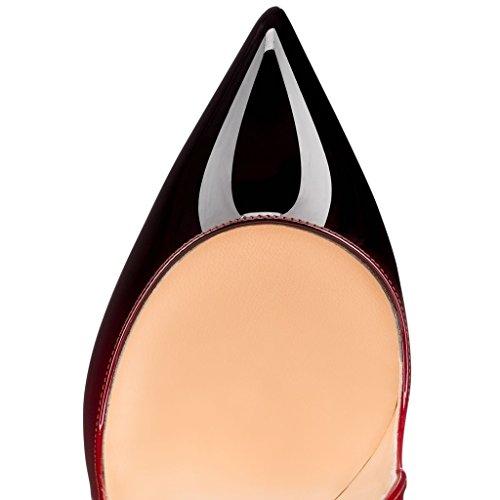 haut ELASHE brillant aiguille talon Vernis Bout Taille et sexy pointu Cuir fermé synthétique Talon 12CM Rouge Noir Classic Stiletto Grande Femmes C1CqB