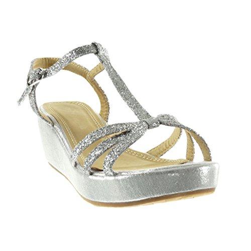 Angkorly - Zapatillas de Moda Sandalias zapatillas de plataforma correa mujer multi-correa brillante brillantes Talón Plataforma 6 CM - Plata