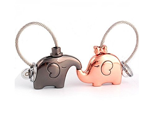 MILESI Original Fantastic Kissing Elephant Couples Keychain Valentine's Gift -