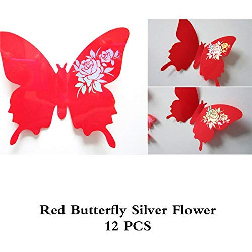 STORE_HAPPY 3D Flower Stickers 12pcs/Set 3D Dazzle Flower Butterfly for Living Room Bedroom Wall Decor Plastic Butterflies Fridge Stickers Party Decoration D49