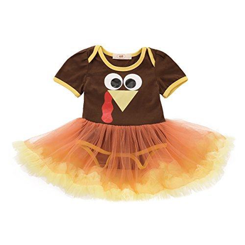 Rvbelbay Thanksgiving Romper Tutu Dress Cutest Halloween & First Turkey Day Outfit, 2 Piece Pumpkin Skirt Clothes Set (60, Brown) for $<!--$14.49-->