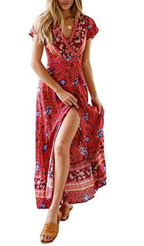 PRETTYGARDEN Women's Summer V Neck Wrap Vintage Floral Print Short Sleeve Split Belted Flowy Boho Beach Long Dress (129 Red, X-Large) from PRETTYGARDEN