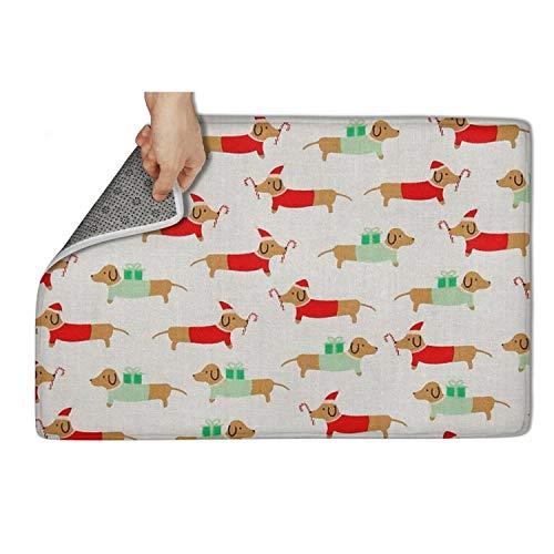 Yiastia_Minyi Indoor Outdoor Doormat Christmas Darlings Dachshunds Absorbent Moisture PVC Backing Entrance Rug Non Slip Door Mat 31