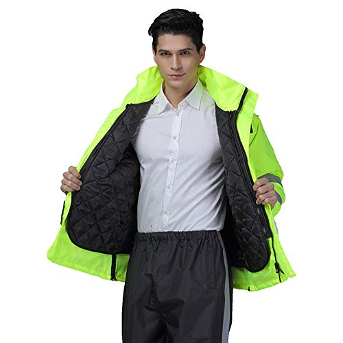 GSHWJS- trash can Reflective Cotton Jacket Winter Traffic Duty Warning Safety Jacket Detachable Cotton Suit, Green Reflective Vests (Size : S) by GSHWJS- trash can (Image #1)