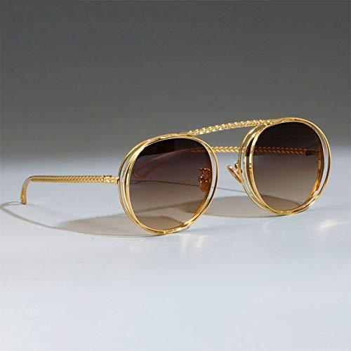GFF Metal Chain Sunglasses Men Women Retro Flat Top UV400 Vintage Brand Glasses Designer ()