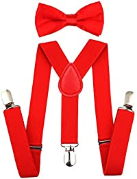 Child Kids Suspenders Bowtie Set - Adjustable Suspender...