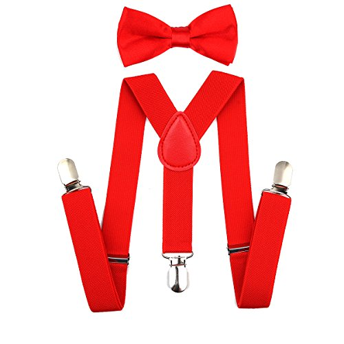 Child Kids Suspenders Bowtie Set - Adjustable Suspender Set for Boys and Girls(25Inches (5 Months to 6 Years),Red) ()