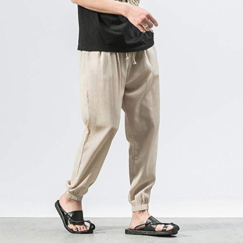 Spbamboo Mens Casual Pants Slim Sports Pants Ankle Length Linen Baggy Trousers by Spbamboo (Image #1)