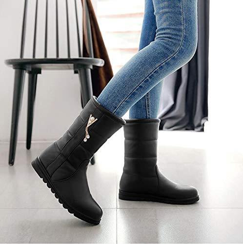 Women'S Shoes Winter Bottom Boots Boots Black Shoes Cotton Flat Autumn Students' Joker Boots AGECC Snow Short Boots SOq7gtw5x