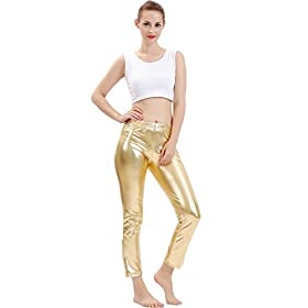 - 41foscs2SlL - GAIBEST Women Metallic Color Shiny Lycra Stretch Leggings Leotard