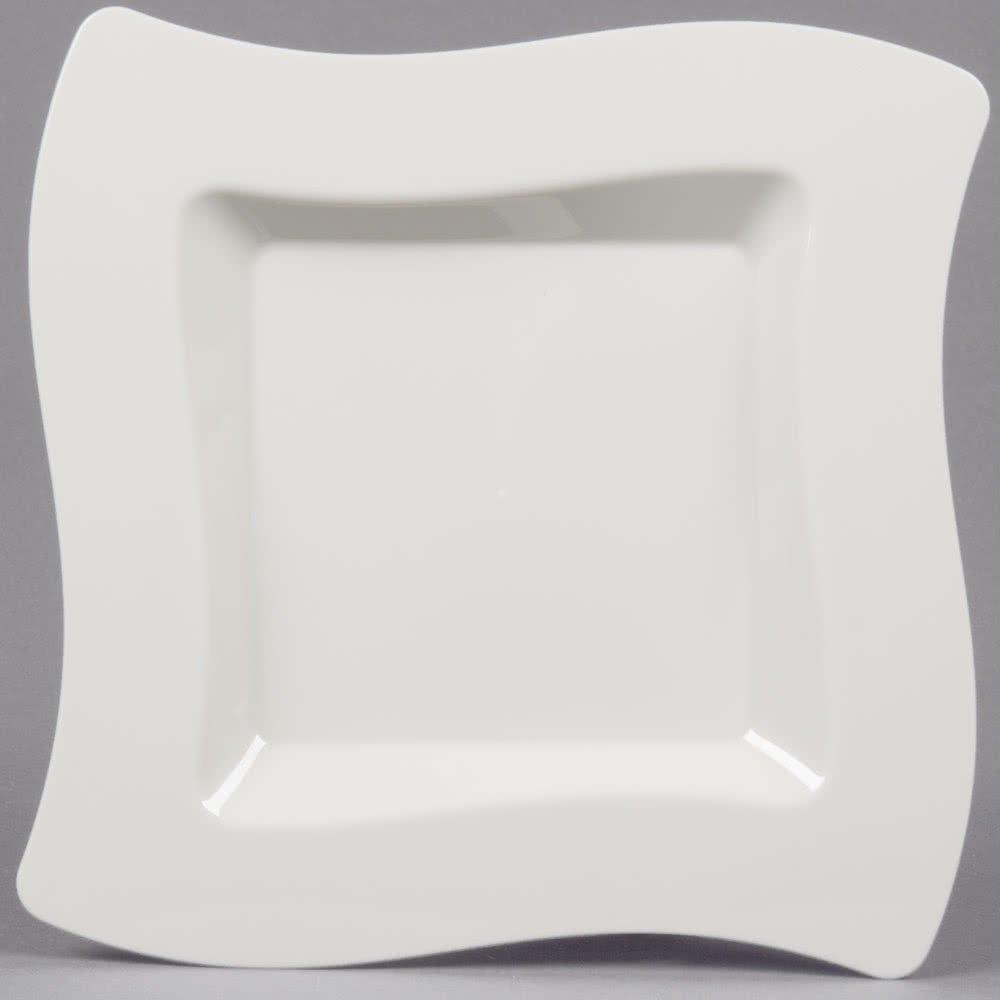forma squadrata ondulata confezione da 10 Eleganti piatti piani in plastica rigida colore/avorio 20/cm