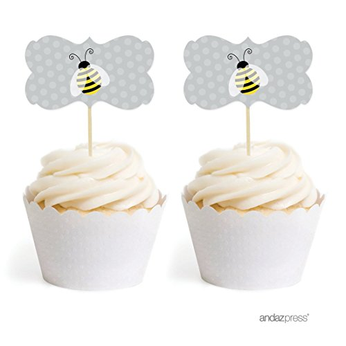 Andaz Press Birthday and Baby Shower Cupcake Toppers DIY Party Favors Kit, Honey Bee Bumblebee, Double-Sided, 18-Pack