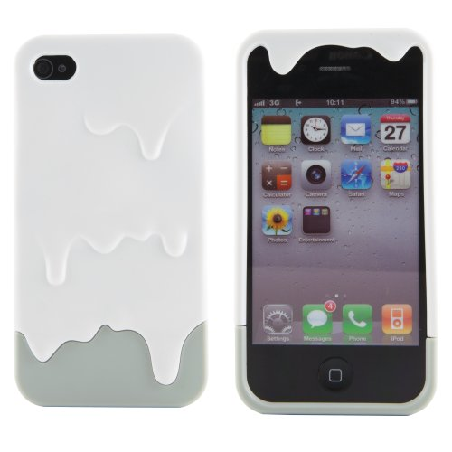 Boho Tronics TM 3D Slim Melt Ice Cream Smooth Hard Case Cover - Compatible With Apple iPhone 4 4S 4G (White And Grey) (Melt Iphone 4 Case)