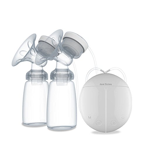 Electric Breast Pump, USB Rechargeable Natural Breastfeeding Massage Tool with Bottle and Cold Heat Pad, Less Pain Milkpump, Breast Suction BPA-Free Comfort Hands Free Double Breastpump
