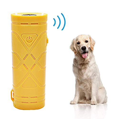 7mohugme LED Ultrasonic Dog Repeller and Trainer Device 3 in 1 Anti Barking Stop Bark Handheld Dog Training Device (Yellow 2)