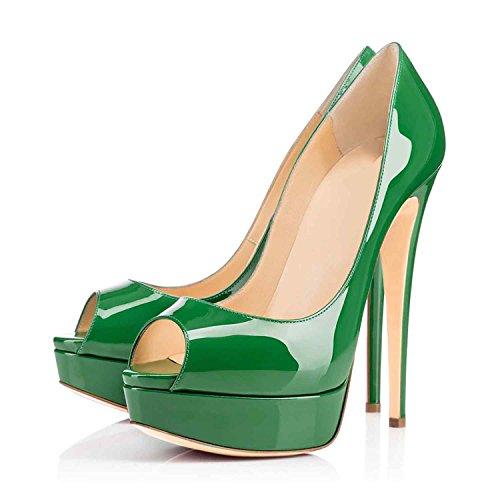 Arc-en-Ciel zapatos de plataforma de la mujer peep toe de tacón alto-green-us10