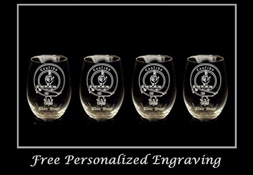 (Boyd Clan Crest Clear Stemless Wine Glass 18 oz Set of 4- Free Personalized Engraving, Celtic Decor, Scottish Wedding Glass)