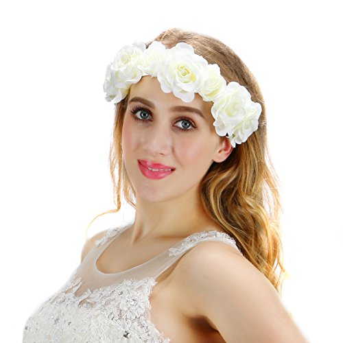 Valdler Beautiful Elegant Rose Hair Band for Wedding Party Prom (White)