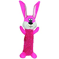 Smart Pet Love - Tender Tuffs - Shaggy Red Rabbit - Tough Dog Toy - Play Fetch or Tug-of-war - Proprietary TearBlok Technology - Puncture Proof Squeaker