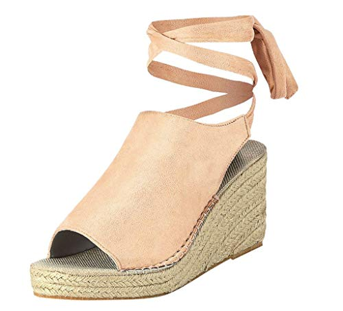 - LUCAMORE Womens Open Toe Tie Lace Up Espadrille Platform Wedges Sandals Ankle Strap Slingback Shoes
