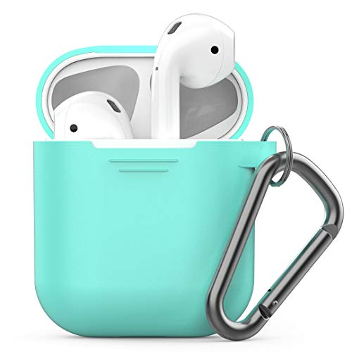 PodSkinz Keychain AirPods Case with Carabiner Compatible with Apple AirPods 1 & AirPods 2 [Front LED Not Visible] (Diamond Blue)