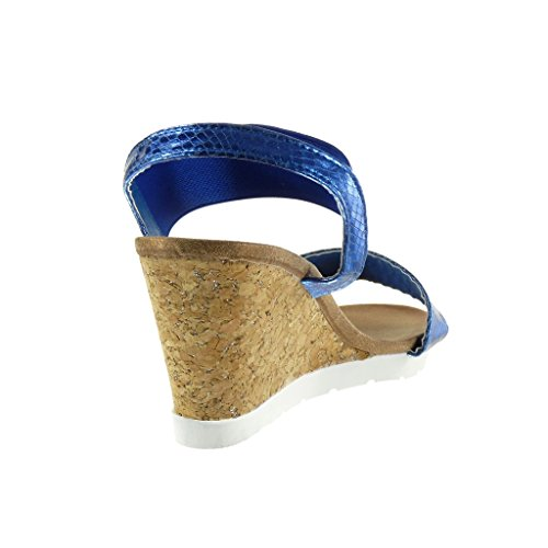 Angkorly - Zapatillas de Moda Sandalias Mules suela de zapatillas mujer piel de serpiente brillantes corcho Talón Plataforma 8.5 CM - Azul