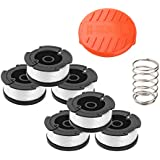 """Wolfish Weed Eater Spool 6 + 1 Pack 30ft 0.065"""" Line String Trimmer Replacement Spool for Black+Decker AF-100 String Trimmers, (6 Replacement Spool, 1 Trimmer Cap, 1 Pack Spring)"""