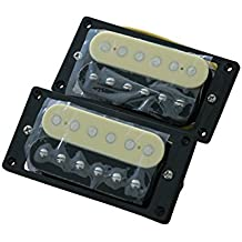 Electric Guitar Humbucker Pickup Double Coil for Gibson Les Paul Replacement Neck and Bridge 1 Set of 2 Black and Cream