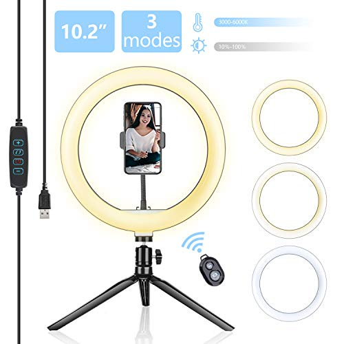 Selfie Ring Light with Tripod Stand, 10.2