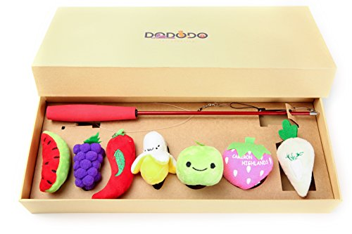 DODODO 7 pieces Cat Toys Collection, Cat Toys Variety Pack with A Teaser Wand and Fruit Catnip Toys in Gift Box
