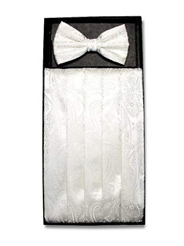 Cumberbund & BowTie Solid Off-WHITE PAISLEY Color Men's Cummerbund Bow Tie Set